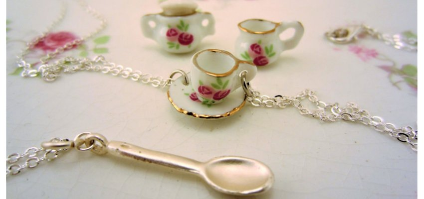 Tea set friendship necklaces