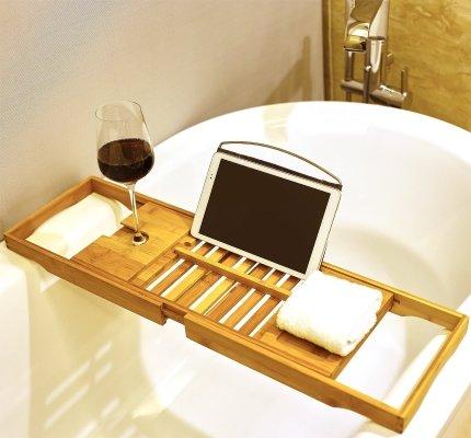 bamboo bathtub tablet holder caddy