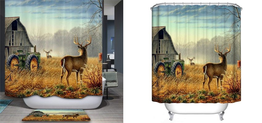 barn and deer shower curtain