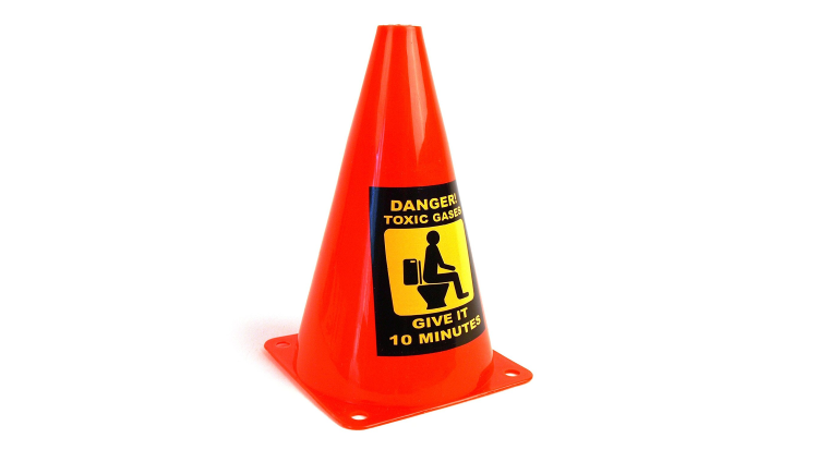 caution toilet toxic gasses cone