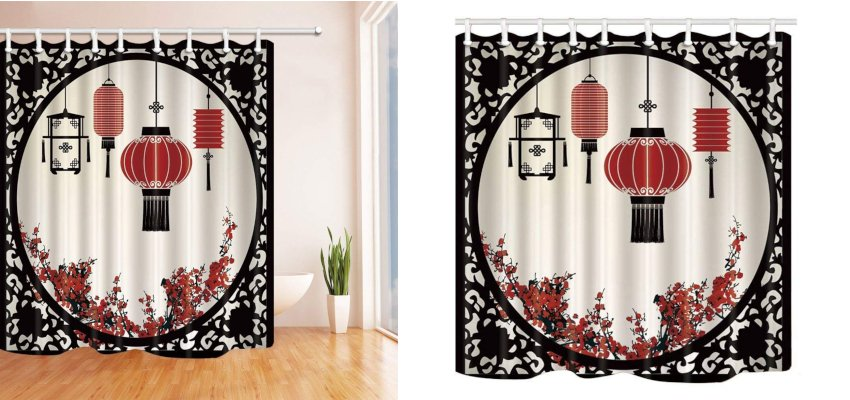 chinese lantern shower curtain