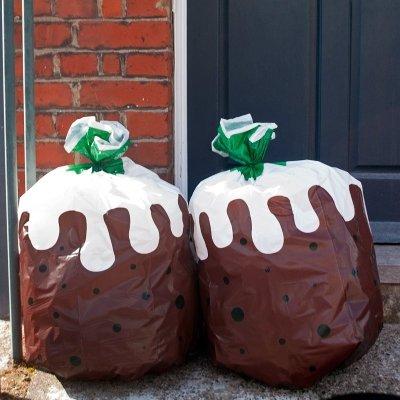christmas pudding bin bags outside