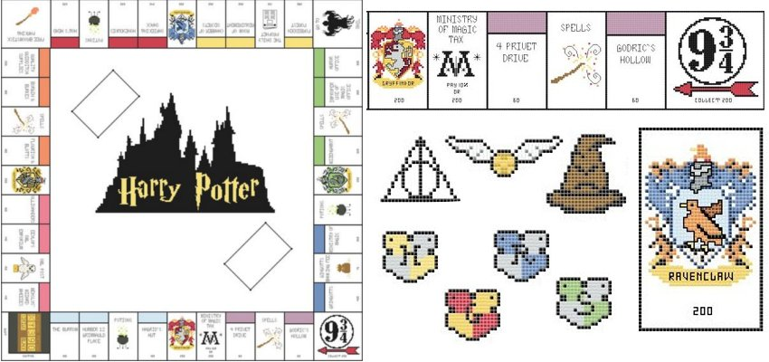 cross stitch harry potter monopoly pattern