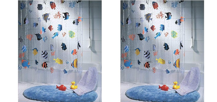 floating fish shower curtain