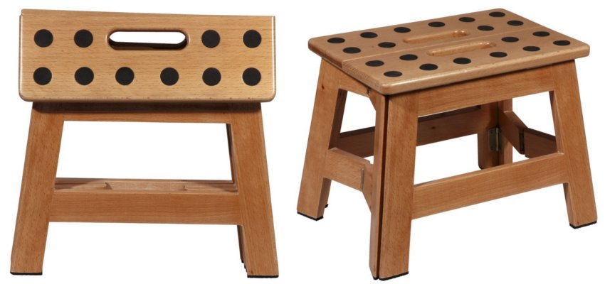 folding wooden step stool 1