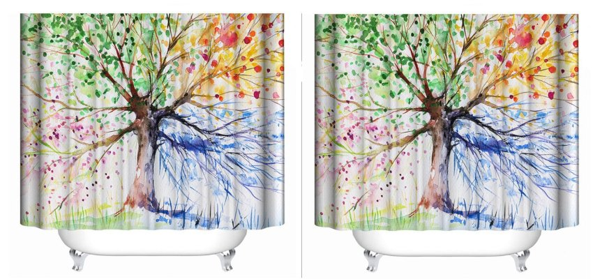 four seasons painted tree shower curtain