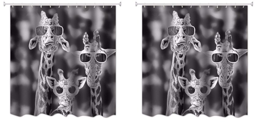 giraffes with sunglasses shower curtain