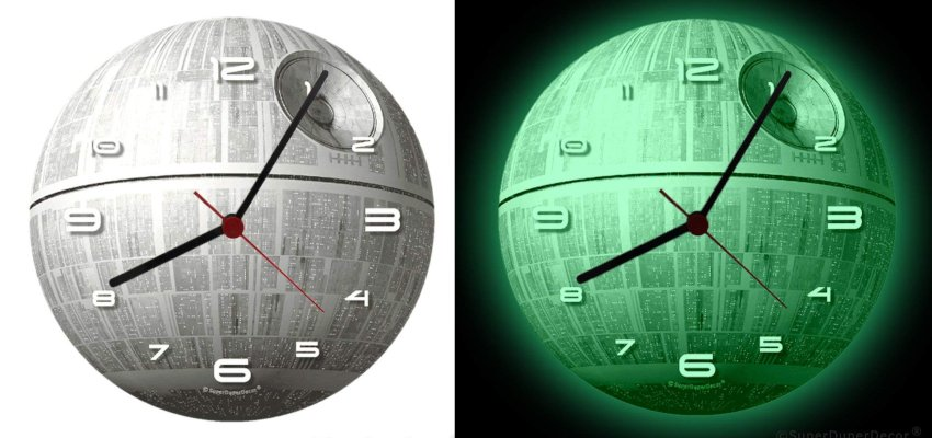 glow in the dark death star clock