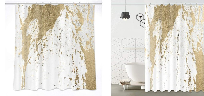 gold splash marble shower curtain