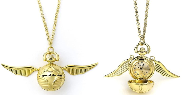 golden snitch necklace clock both sides