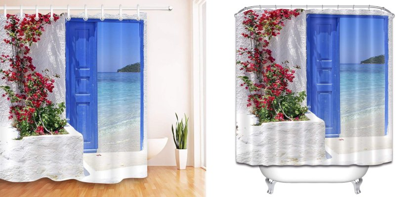 island escape shower curtain