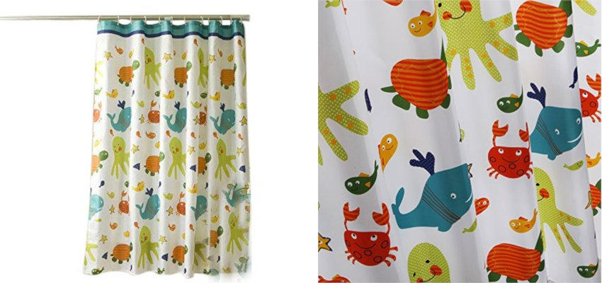 kids sea life shower curtain