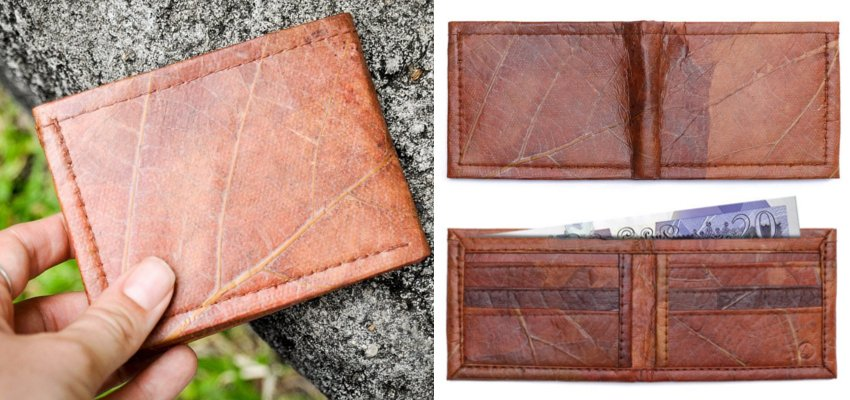 leaf leather wallet