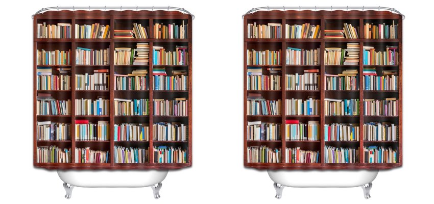 library bookcase shower curtain