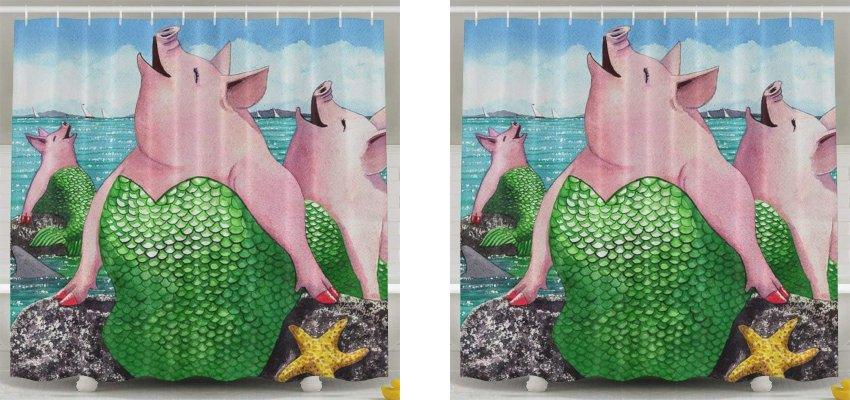 merpig shower curtain