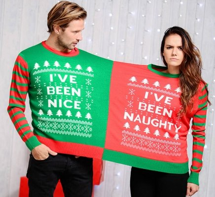 Instajunction naughty nice 2 person christmas jumper