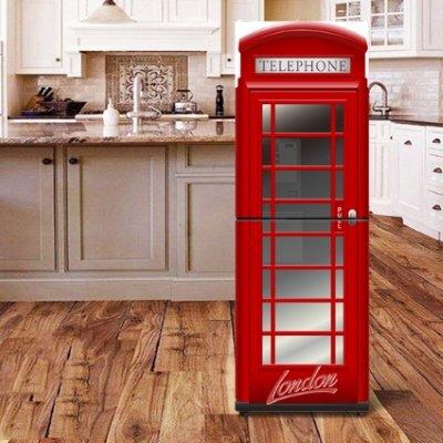 phone box fridge sticker in kitchen