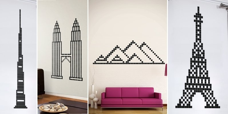 pixelated world monument wall stickers