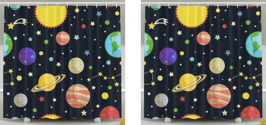 planets and stars shower curtain