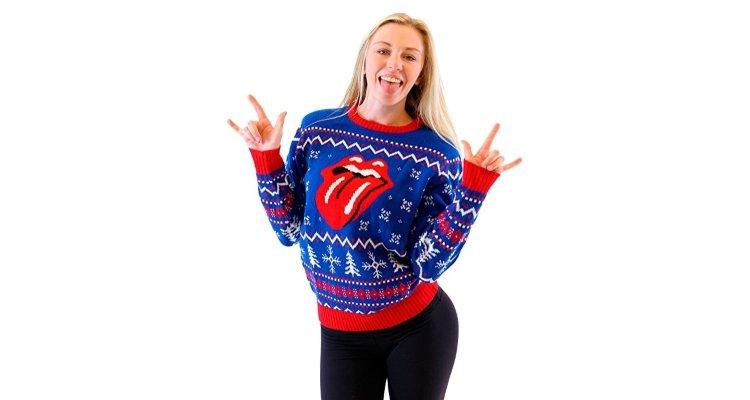 rolling stones lips xmas jumper