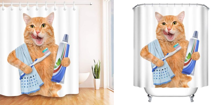 showering cat shower curtain