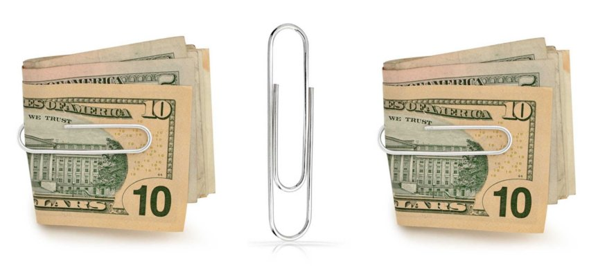 silver money paper clip