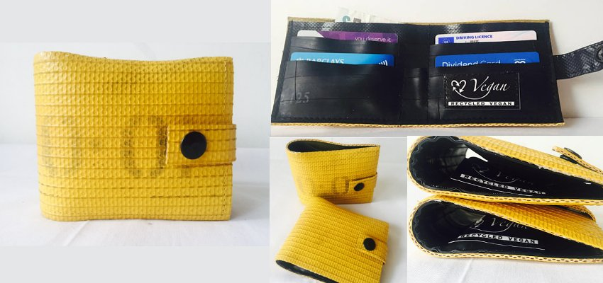 upcycled fire hose wallet