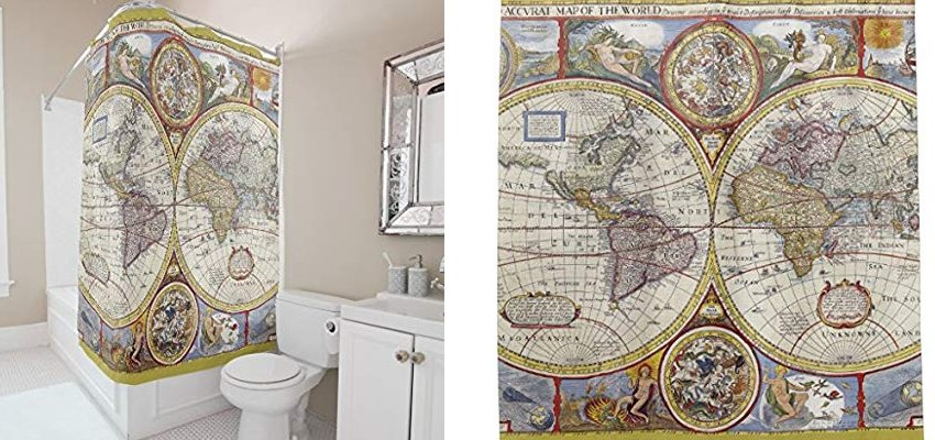 vintage old world map shower curtain